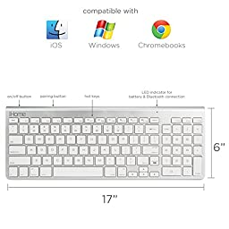 iHome - Full Size Bluetooth Wireless Keyboard with Numeric Keypad (White)
