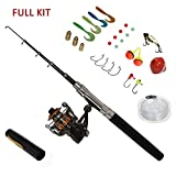 Carbon Fiber Pen Fishing Rods and Spinning Reel Combos Mini Pocket Size Pole 39 Inch with Hooks Lures Floats Line in Tackle Box Full Kit