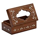 *Item on Sale*Big Discounts* SouvNear Wood Tissue Box Cover with Floral Design for Car / Kitchen / Office / Home / Saloon / Boutique / Designer Tissue Paper Holder Dispenser for Family Size 160 Count Kleenex Facial Tissue Box Pack 100% Wood Warranty