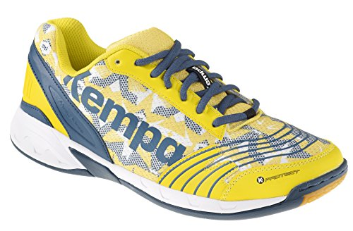 Kempa Attack Three - Scarpe da Pallamano Unisex - Adulto, Multicolore (Blaz Jaune/Pétrole/Blanc), 42 EU