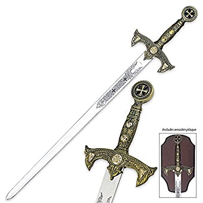 Knights Templar Long Sword & Wall Plaque