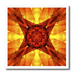 ht_38579_1 Perkins Designs Abstract - Orange Star - abstract graphic design of glass like illuminating geometric angles - Iron on Heat Transfers - 8x8 Iron on Heat Transfer for White Material