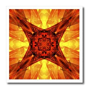 Perkins Designs Abstract - Orange Star - abstract graphic design of glass like illuminating geometric angles - 8x8 Iron on Heat Transfer for White Material (ht_38579_1)