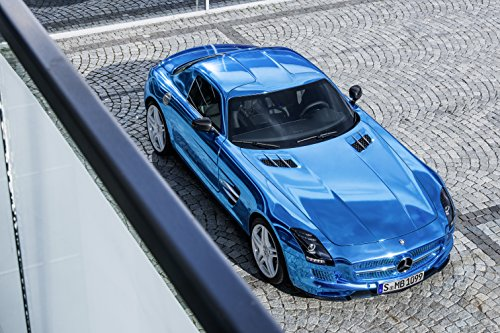 """Mercedes-Benz Sls Amg Electric Drive Concept (2012) Car Art Poster Print On 10 Mil Archival Satin Blue Top Front Side Static View 11""""X17"""""""