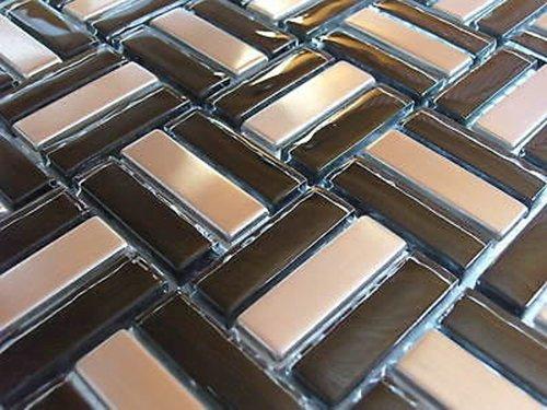 FLIESENTOPSHOP 1 qm Glasmosaik Edelstahlmosaik schwarz silber Metallmosaik1 Mosaik Fliesen