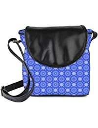 Snoogg Blue Flourish Pattern Womens Sling Bag Small Size Tote Bag