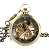 Yesurprise New Classic Steampunk Mechanical Style Roman Numeral Golden Mens Windup Pocket Watch for Graduation Party Gift Trendy #2