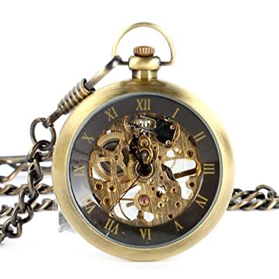 Click for Yesurprise Classic Steampunk Mechanical Style Roman Numeral Mens Windup Pocket Watch