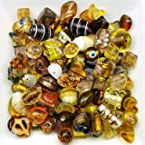 Mélange perles de verre 6 à 28mm topaze doré