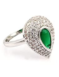 SUPERSHINE DELIGHTEDLY CRAFTED WHITE GOLD PLATED RING JEWELRY STUDDED WITH AMERICAN DIAMONDS & EMERALD LOOK STONE...