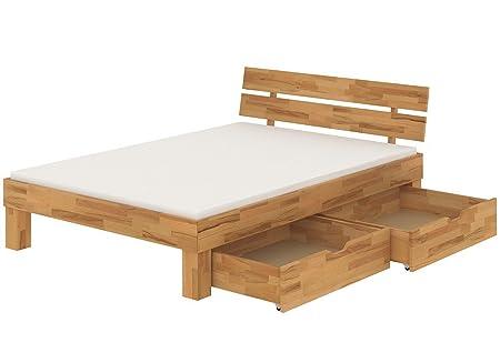 Buchebett massiv Doppelbett Ehebett 180x200 Bettkasten Rollrost Matratzen 60.86-18 M2 B33