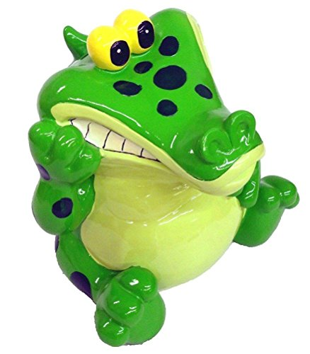 "Alligator Bank - Coin Bank, Piggy Bank - Green with Dots 9"" Tall X 9.5"" Wide"