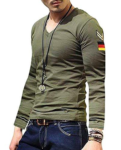 (ガン フリーク) GUN FREAK タクティカル Tシャツ 長袖 ミリタリー サバゲー ドイツ パッチ Vネック ( L , オリーブドラブ )