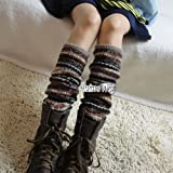 Anime Camouflage Style Knit High Knee Leg Warmers Women Girl Leggings Socks