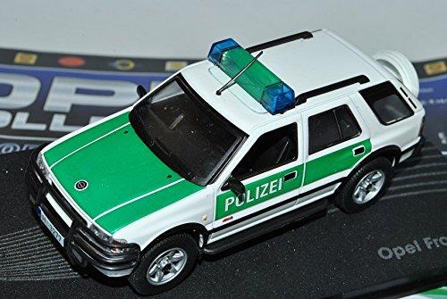 Opel-Frontera-B-Polizei-Weiss-Grn-1998-2004-Inkl-Zeitschrift-Nr-83-143-Ixo-Modell-Auto-mit-individiuellem-Wunschkennzeichen