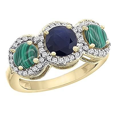 10K Yellow Gold Natural High Quality Blue Sapphire & Malachite Sides Round 3-stone Ring Diamond Accents, sizes 5 - 10