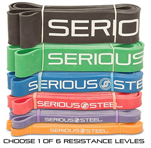 Serious-Steel-Assisted-Pull-Up-Band-Resistance-Stretch-Band-Powerlifting-Bands-Pull-up-and-Band-Starter-e-Guide-INCLUDED-Single-unit-41-inch
