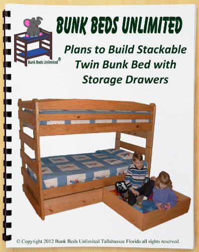 Bunk Bed Woodworking Plan (Not A Bed) To Build Your Own Twin Bunk (That Does Not Unstack) With Two Large Storage Drawers front-963988