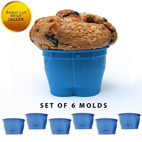 Set of 6 Silicone MUFFIN TOP Cupcake Molds. Reusable Silicone Muffin Baking Cups, Nonstick Muffin Cups Cake Molds. Novelty Jean Shaped Silicone Bake Cups Create a Hilarious