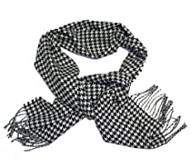 Cashmere Touch Scarf Black & White Houndstooth