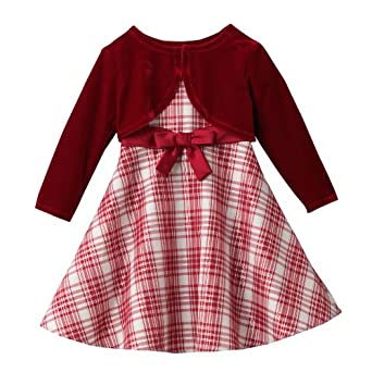 SIZE 12M, Bonnie Jean Baby 2-Piece RED IVORY METALLIC PLAID Dress/Shrug Set