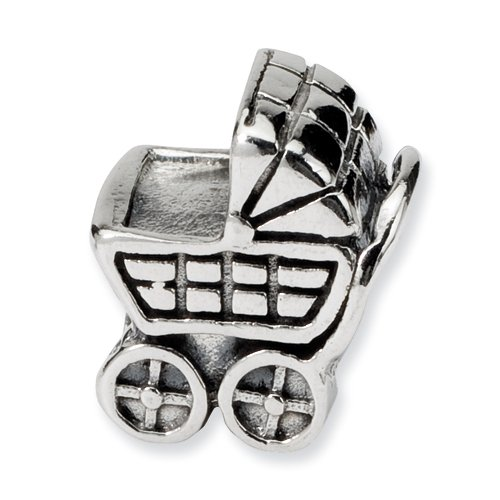 Sterling Reflection Baby Carriage Bead Fits Others front-181531
