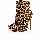 AIWEIYi Womens Leopard Print Stilettos High Heels Ankle Boots