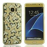 Transparent Flexibel Gel Handy Tasche Schlank Samsung Galaxy S7 Edge Schutzhülle Hülle - Kleine weiße Pferd Bild Kleine Augen Entwurf (Augen bewegen kann)