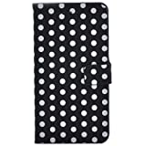 Mooncolour 2013 New Arrival Fashion Card Slot Wallet Wave Point Flip Case Pouch with Stand High Quality Pu Leather Case Cover for Blackberry Z10 Good Birthday Xmas Hallowmas Gift to Your Friend or Lover (Black background  White spots)
