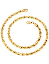 YoFashion Mens Stainless Steel Gold Plated Classic Rope Chain 21.5""