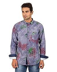 Bandit Men's Slim Fit Cotton Shirt (1513B_Grey_Medium)