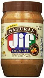 Jif Natural Crunchy Peanut Butter Spread, 40 Ounce (Pack of 8)