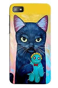 Omnam Blue Cat Lying Teddy Printed Designer Back Cover Case For BlackBerry Z10