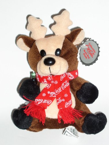 Collectible Coca-Cola Bean Bag Plus -Reindeer in Coca-Cola Snowflake Scarf, Style #0142 - 1