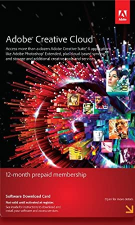 Adobe Creative Cloud Membership 12 Month Pre-Paid Membership Product Key Card