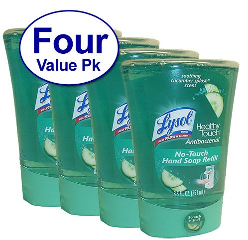 Lysol No-Touch Hand Soap Refill, 8.5 Fl Oz Soothing Cucumber Splash Scent, 4 Count