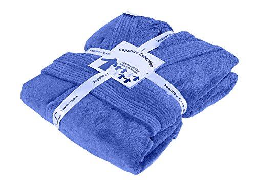 Herren/Damen Unisex 100% ägyptische Baumwolle Frottee mit Kapuze Schalkragen Bademantel alle Größen, 100 % Baumwolle, königsblau, S/M