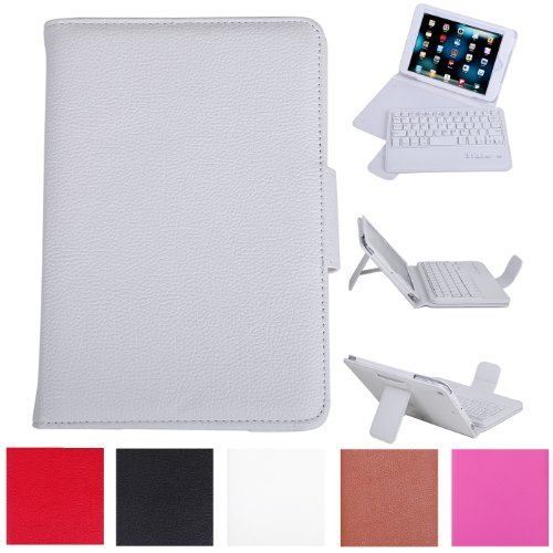 Hde Leather Folding Folio Case Cover & Stand W/ Keyboard For Ipad Mini (White)