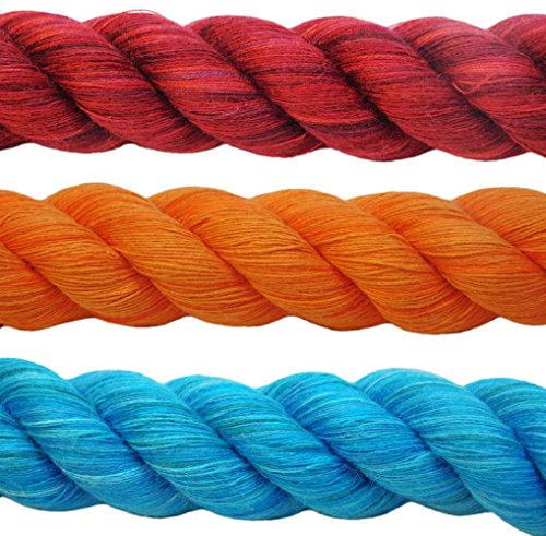 FMS High Quality Cotton Craft Rope - 1/4 Inch and 1/2 Inch Wide (1/2 inch)(Red, White & Blue)