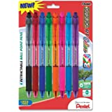 Pentel R.S.V.P. RT Colors New Retractable Ballpoint Pen, Medium Line, Assorted Ink Colors, Pack of 8 (BK93CRBP8M)