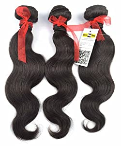 Best-Buy-Box® Brazilian Hair Extensions Water Body Wave 100% Human Virgin Remy Hair Wholesale 3pcs Lot 300gram/11 Oz Total 5a Quality Tangle Free Mixed Lengths 12 Inch to 30 Inch Natural Black Color (22 22 24)