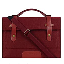 Mosiso 12.9 iPad Pro / 13.3 Inch MacBook Air / Pro Retina Felt Shoulder Bag Briefcase Laptop Tablet PC Carrying Case with Shoulder Strap, Compatible with Most 11-Inch Ultrabook Netbook, Wine Red