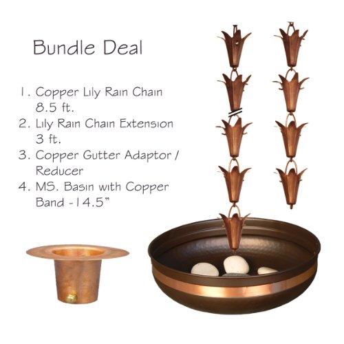 Monarch Pure Copper Lily Rain Chain Bundle Deal (Pure Rain compare prices)