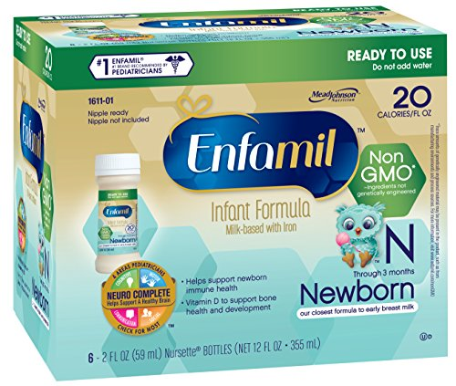 Enfamil Newborn Non-GMO Baby Formula Nursette Bottles, 2 Oz. 6 Count (Pack of 4) (Baby Food Level 3 compare prices)