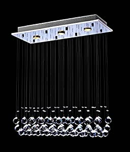 Saint MossiModern Ceiling Lighting Crystal Chandelier LED Lighting Fixture Pendant Lamp 3 GU10 Bulb Required Great Quality Best Discount