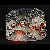 Village de Noël fibre optique 17 cm marron