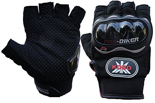 Probiker Leather Half Finger Motorcycle Gloves (Black)