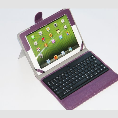 XTEK Purple Stand Case Cover W/ Removable Detachable Wireless Bluetooth ABS Keyboard For