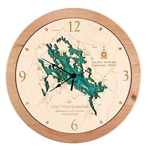 Lake Tahoe in Douglas Carson City Washoe Placer CA El Dorado CA, NV - 3D Clock 17.5 IN - Laser carved wood nautical chart and topographic depth map. (Lake Tahoe Wood Chart compare prices)