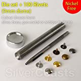 100 Dome Rivets + Die Set Punch Tool, Studs for Sewing, Leather craft, Jeans repair. 9mm. Certified Nickel Free rivets. Follow this link to see the video of how to use the tools:http://www.youtube.com/watch?v=uT3zItfMHbc